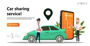 Bil som delar begrepp Onlintransport servicehyra royaltyfri illustrationer