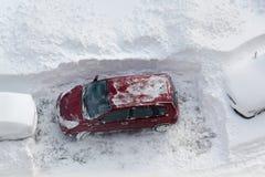 Bil i snow Royaltyfri Foto