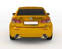 Bil som isoleras på guld- vit -, tonat exponeringsglas - tillbaka sikt Arkivbild