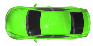 Bil som isoleras på vit - grön målarfärg, tonat exponeringsglas - bästa sikt Royaltyfri Foto