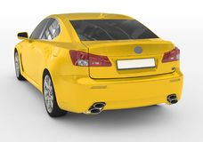 Bil som isoleras på vit - gul målarfärg, tonat exponeringsglas - baksida-lämnat s Arkivfoto