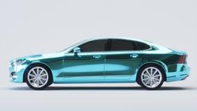 Bil som slås in i blå kromfilm framförande 3d Royaltyfri Fotografi
