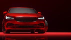 Bil som slås in i röd matte kromfilm framförande 3d Arkivbilder