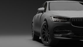 Bil som slås in i svart matte film framförande 3d Royaltyfria Bilder