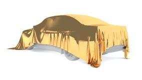 Bil som täckas med en vit torkduk framförande 3d Fotografering för Bildbyråer