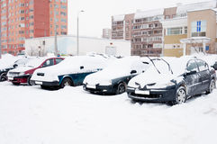 Bil som täckas med snow. Moscow Ryssland Royaltyfria Foton