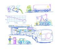 Bil som tankar vänden, teckningar vid handen Royaltyfri Foto