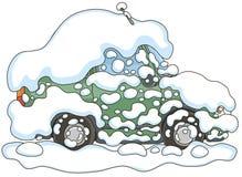 Bil under insnöad vinter arkivfoton