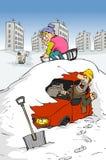 Bil under snowen Fotografering för Bildbyråer