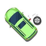 Bil utbyte av hjul, reparationsarbete Top beskådar Vektor Illust vektor illustrationer