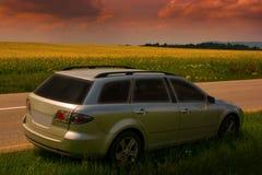Bil vid vägen Royaltyfria Bilder