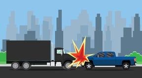 Bil vs suvkrasch på gatan royaltyfri illustrationer