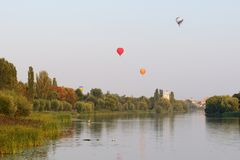 The view on balloons are over Ros river in Bila Tserkva town Royalty Free Stock Image