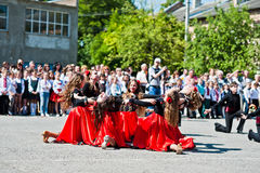 Bila, Ukraine - May 27, 2016: School line is in schoolyard with Royalty Free Stock Photography