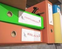 `bilan` `comptabilité` binder and folder. `bilan` `comptabilité` binder and folder, 3d rendering Stock Photos