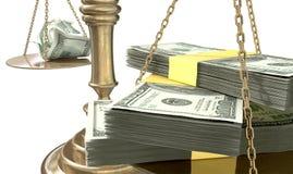 Bilancia della giustizia Income Gap U.S.A. di diseguaglianza Immagine Stock
