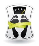 Bilancia pesa-persone bianca Fotografia Stock
