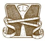 Bilancia pesa-persone dell'incisione Immagine Stock Libera da Diritti