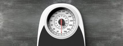 Bilancia pesa-persone in mezzo ad un fondo della lavagna Copyspace per testo illustrazione 3D Immagini Stock