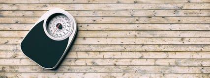 Bilancia pesa-persone su un vecchio fondo di legno del pavimento Copyspace per testo illustrazione 3D Immagini Stock