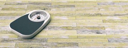 Bilancia pesa-persone su un vecchio fondo di legno del pavimento Copyspace per testo illustrazione 3D Fotografia Stock Libera da Diritti