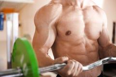 Bilanciere di sollevamento dell'uomo muscolare Immagini Stock