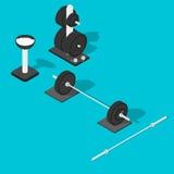 Bilanciere, supporto dei pesi e barra Fotografia Stock Libera da Diritti