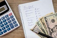 Bilancio domestico con soldi fotografia stock