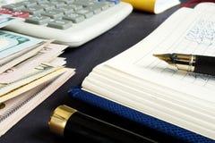 Bilancio domestico e finanze personali Soldi e blocchetto per appunti fotografie stock
