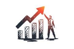 Bilanz, Analyse, finanziell, Wachstum, Diagrammkonzept Hand gezeichneter lokalisierter Vektor stock abbildung