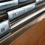 Bilanz, Buchhaltungs-Dokumente Lizenzfreies Stockfoto
