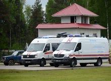 Bilar av den mobila kontrollmitten för obemannade flyg- system av departementet av nöd- lägen av Ryssland på utställningen Royaltyfria Foton