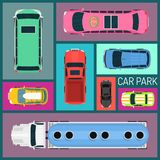 Bilar av den olika sömlösa för format och modellvektorillustrationen för färg car parking Bästa sikt av parkeringszonen med a royaltyfri illustrationer
