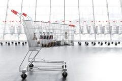 Bilar för en supermarket över rad av tomma vagnar stock illustrationer