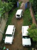 Bilar från överkant från helikoptern royaltyfri fotografi