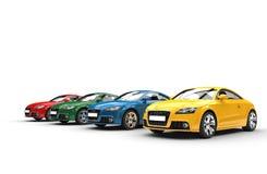 Bilar - grundläggande färger - vinkelskott Fotografering för Bildbyråer
