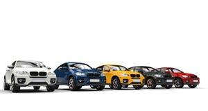 Bilar i visningslokalen (SUV) royaltyfria bilder