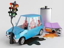 Bilar och alkohol Arkivfoton