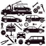 Bilar och bilreparationshjälpmedel stock illustrationer