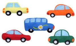Bilar och buss Fotografering för Bildbyråer