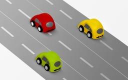 Bilar på vägen royaltyfri illustrationer