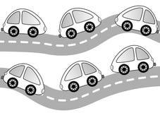Bilar på vägfärgläggningsidan Arkivfoto