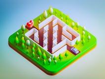 Bilar ska just att skriva in labyrinten Arkivbild