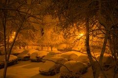 bilar snowed Arkivfoto