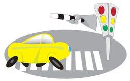 bilar som korsar lampagångaretrafik Fotografering för Bildbyråer