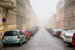 Bilar som parkeras på sidan av den gamla bostads- gatan på en dimmig vinterdag Znojmo Tjeckien, Europa royaltyfri bild