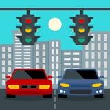 Bilar stoppar på trafikljusbegreppsbakgrund, plan stil stock illustrationer