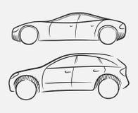 bilar tecknad hand royaltyfri illustrationer