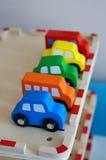 bilar toy trä Arkivbilder