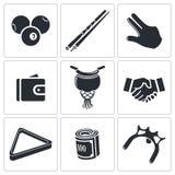 Bilardowe ikony ustawiać Fotografia Stock